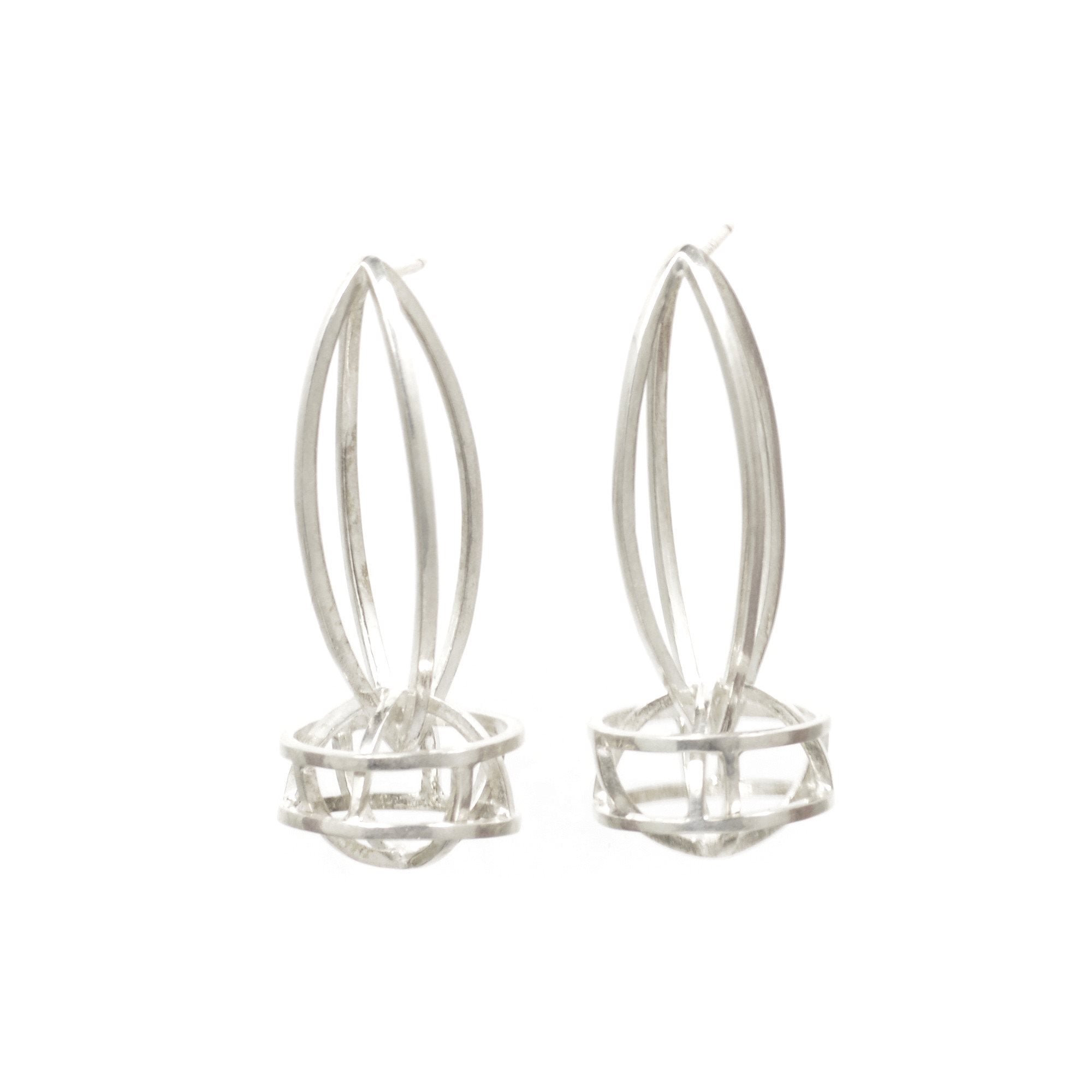 Lattis Link Earrings in Sterling Silver, White Finish