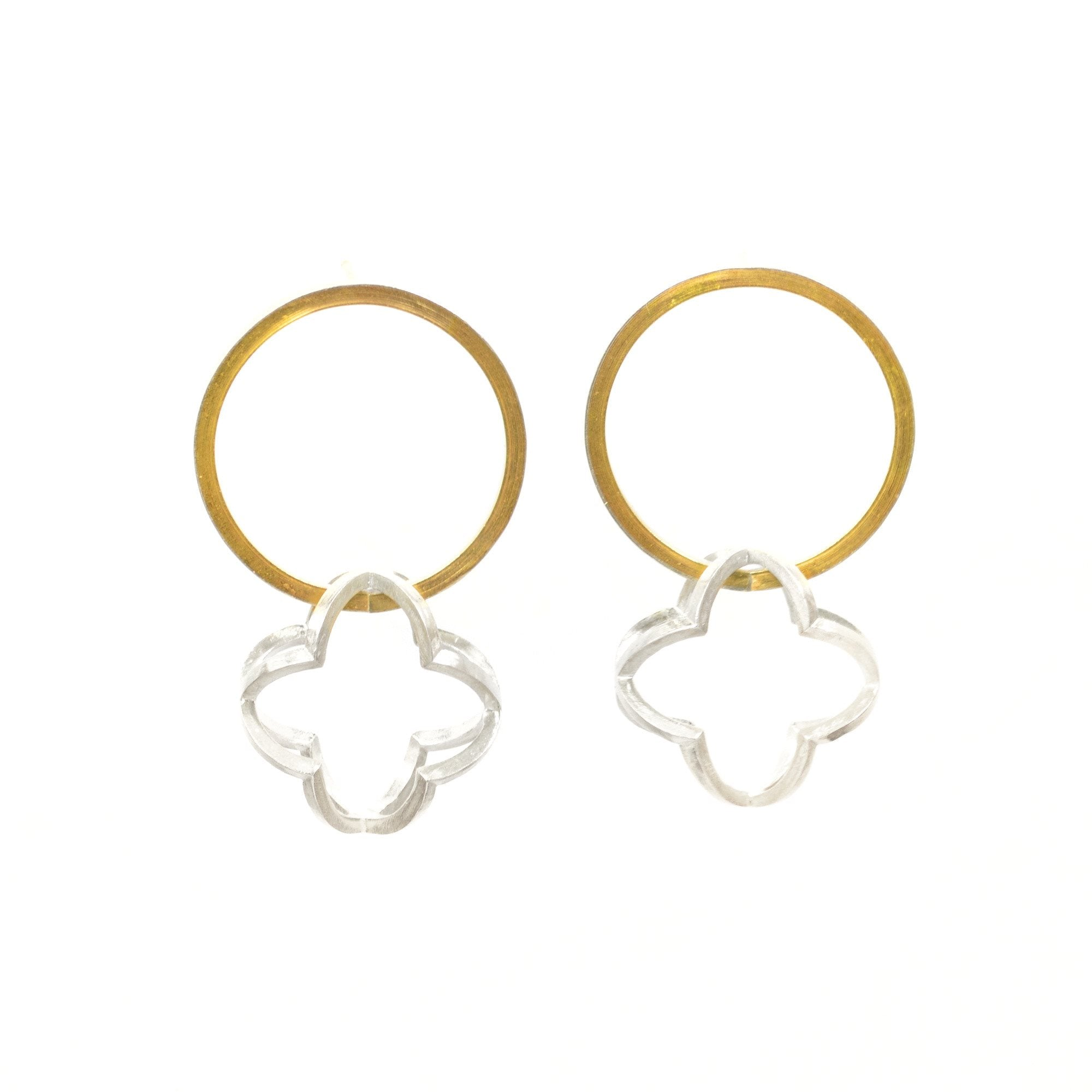 Quatrefoil Orbit Hoop Earrings in 22k gold and sterling silver