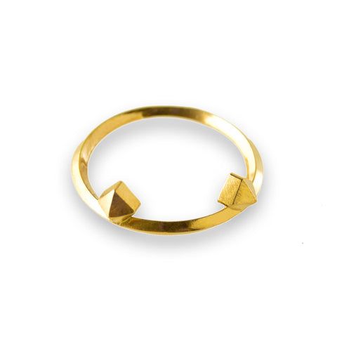 Metropolis Double Pyramid Stacking Ring in 14k gold