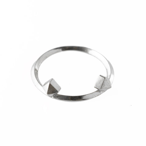 Metropolis Double Pyramid Stacking Ring in Sterling Silver