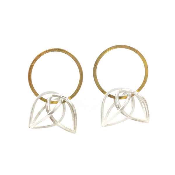 Parabolic Orbit Hoop Earrings in 22k Gold and Sterling Silver
