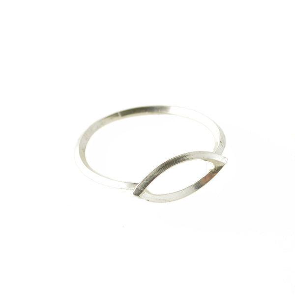 Metropolis Navette Window Stacking Ring in Sterling Silver