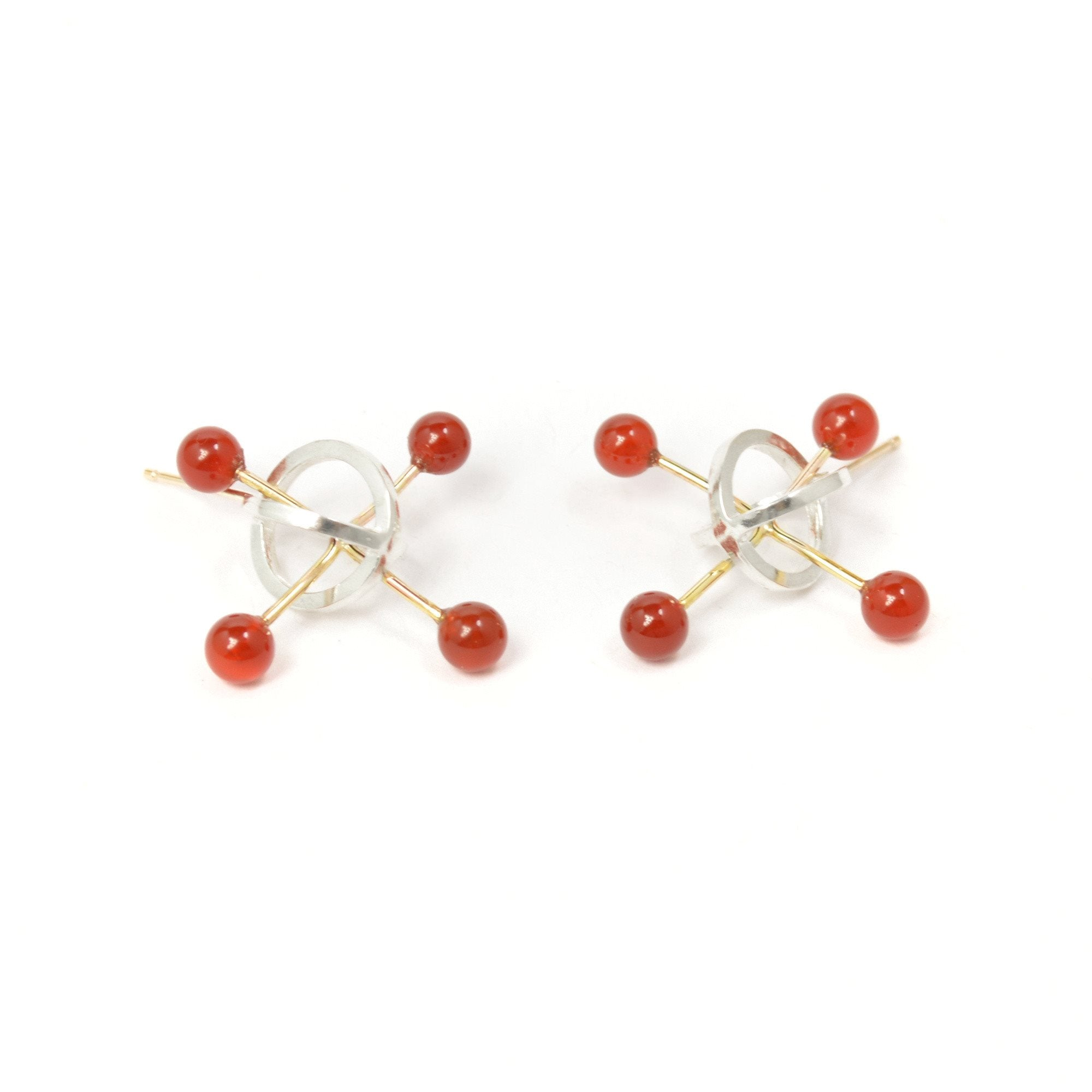 Quark Stud Earrings in Sterling Silver,14k gold and Carnelian