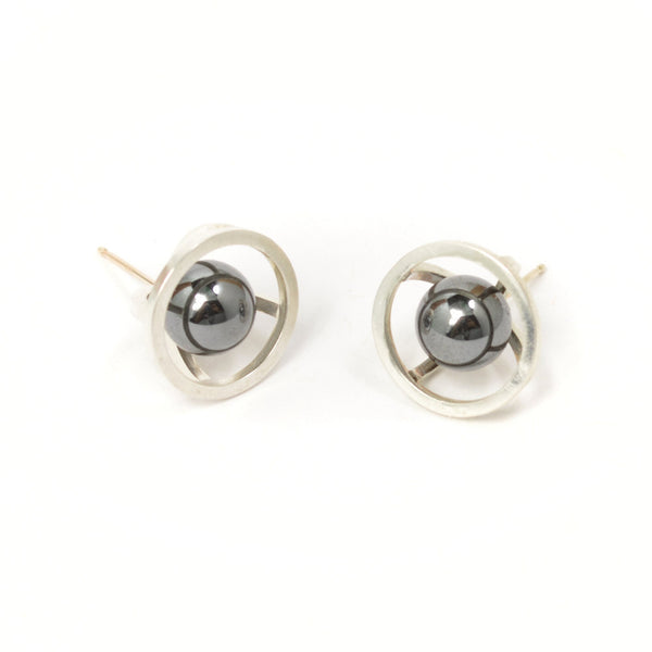 Sphere of Reflection Stud Earrings in Sterling Silver