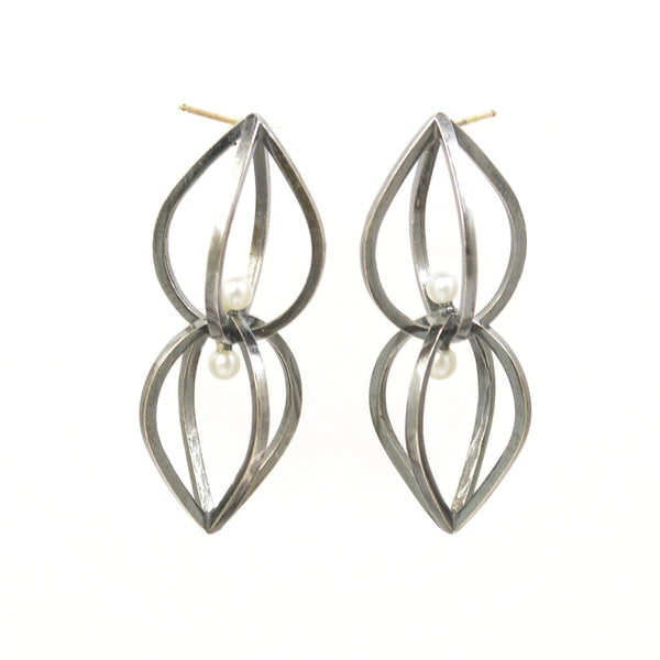 Seed Earrings in Sterling Silver, White Pearls and dark patina
