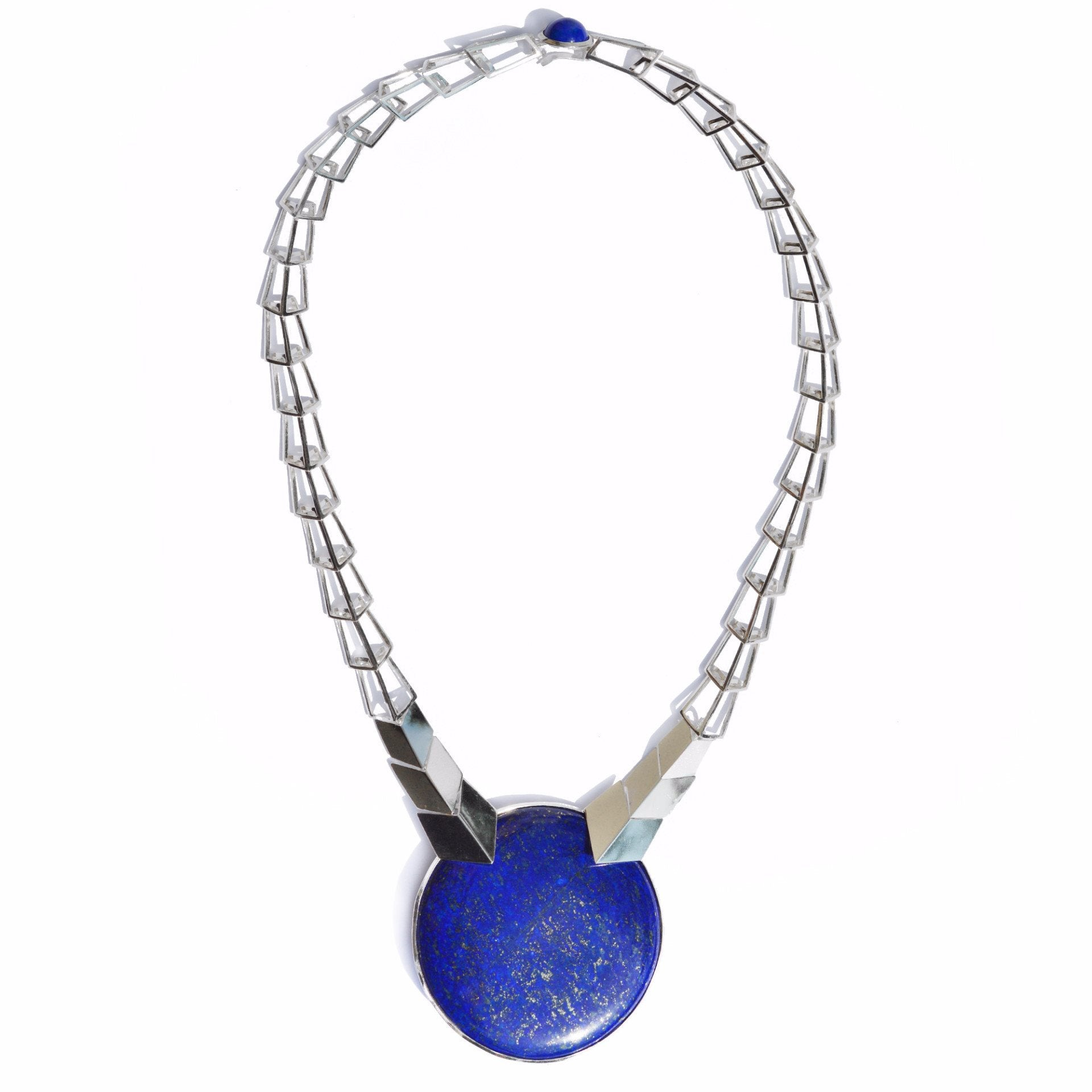 Transforming Necklace with Striking Blue Lapis and Sterling Silver