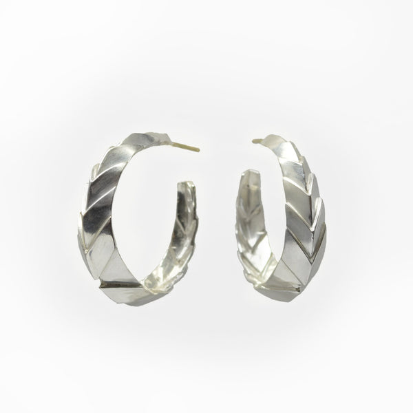 Metropolis Chevron Hoop Earrings in Sterling Silver