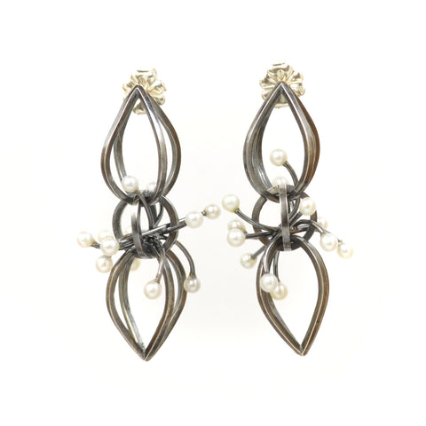 Dark Comet Earrings in Sterling Silver and Pearls