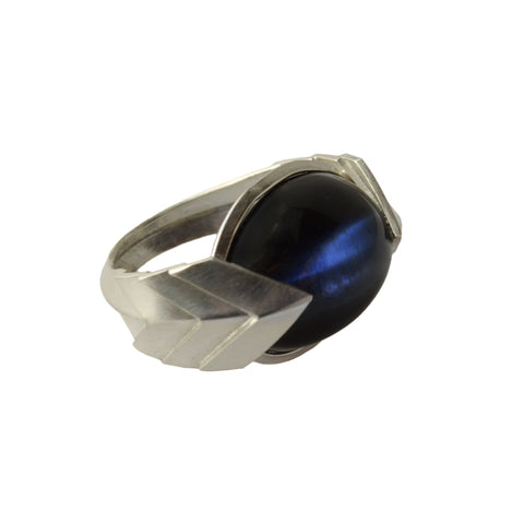 Metropolis Bolt Ring in Sterling Silver with Rare Blue Hawks Eye Cabochon
