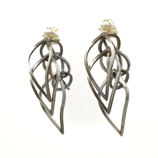 Tighra Earrings in Sterling Silver, Black Patina