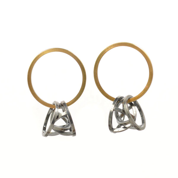 Orbit Hoop Earrings in Sterling Silver, 22k Gold, Black Patina