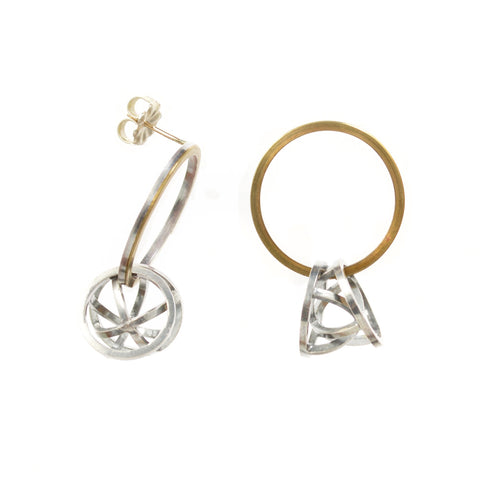 Orbit Hoop Earrings in Sterling Silver, 22k Gold