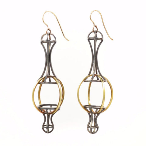 Architectonic Earrings, Sterling Silver, 18k Gold