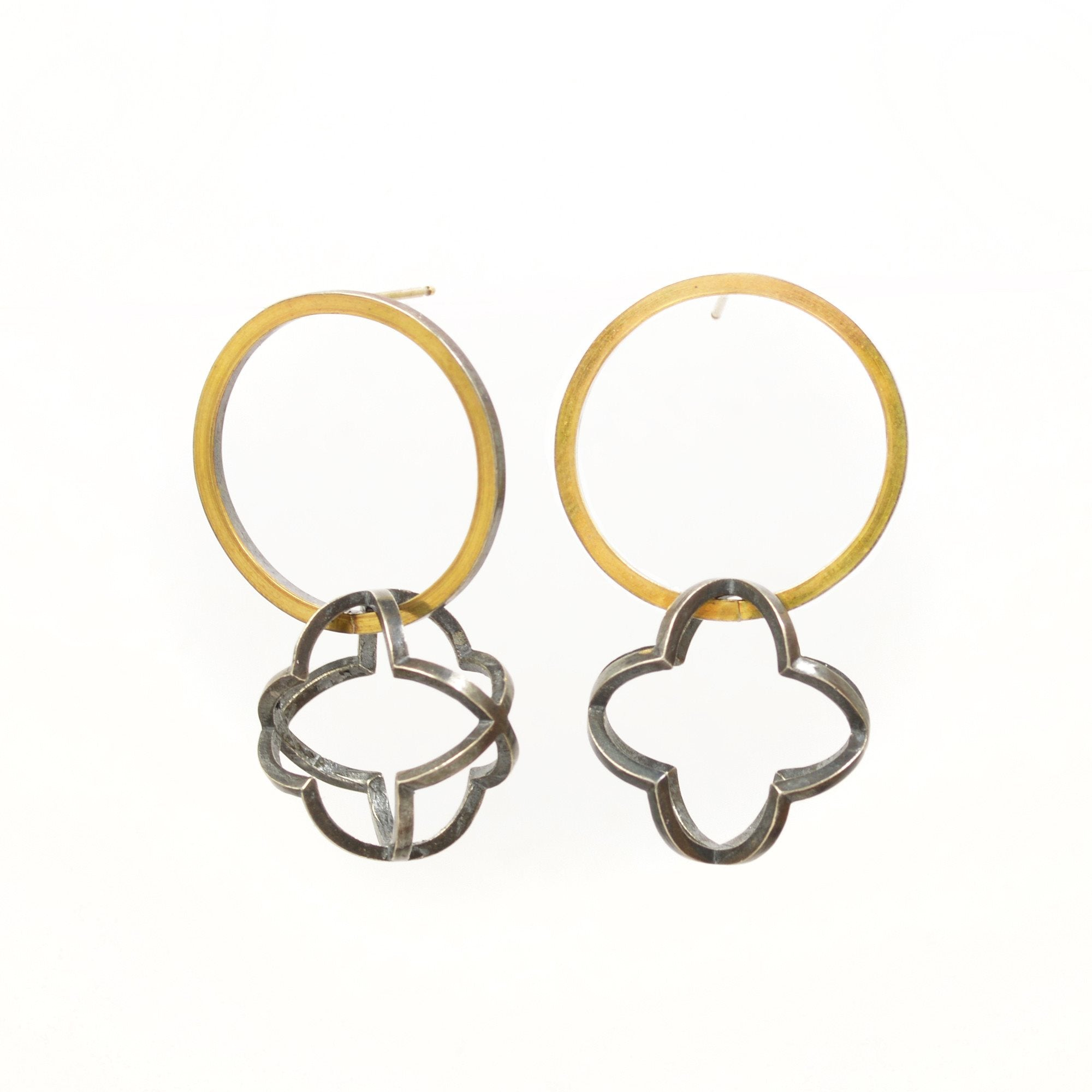 Quatrefoil Orbit Hoop Earrings in 22k gold, Sterling silver with Black Patina
