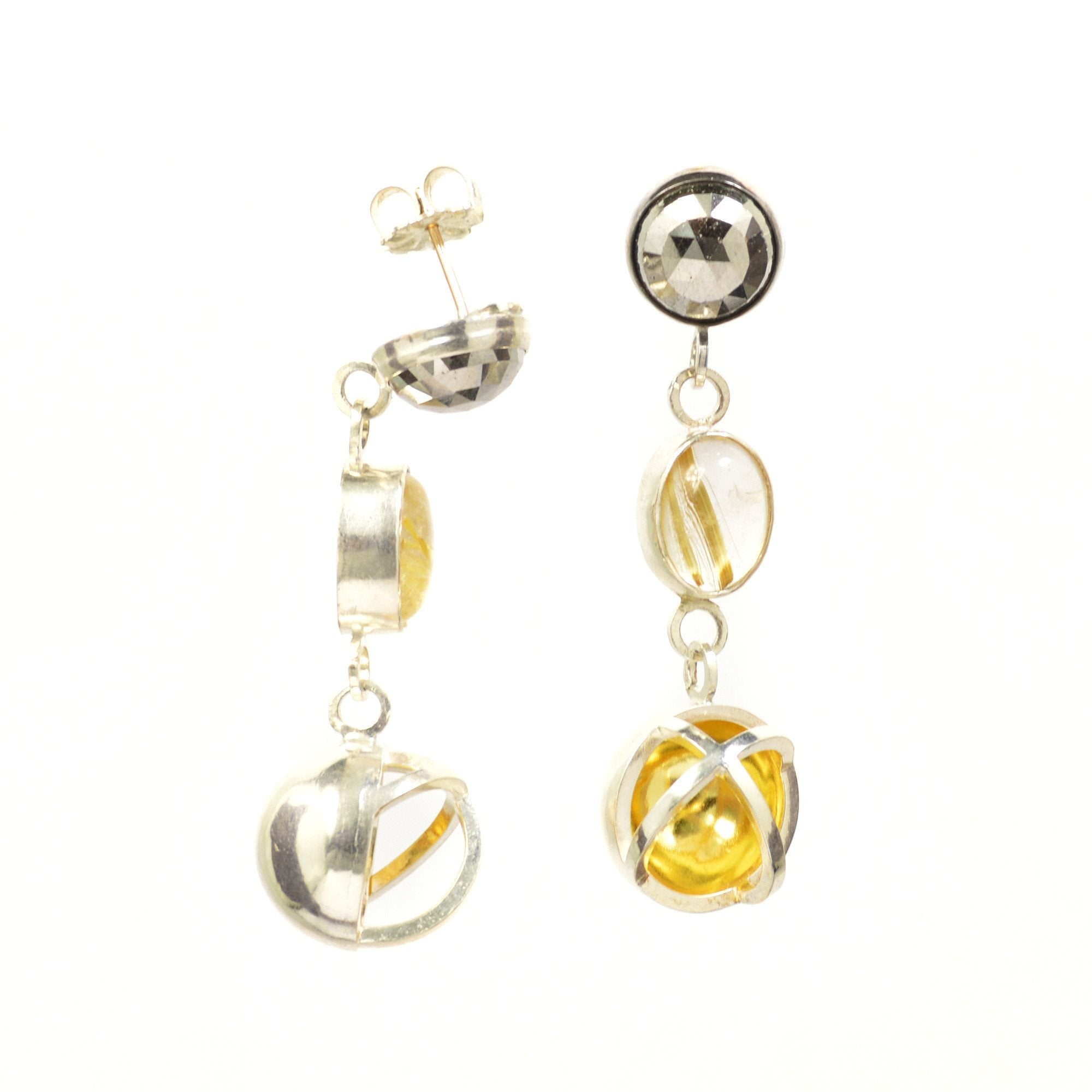 Earth Ocean Air Earrings in Sterling Silver, 22K Gold, Hematites and Rutile Quartz