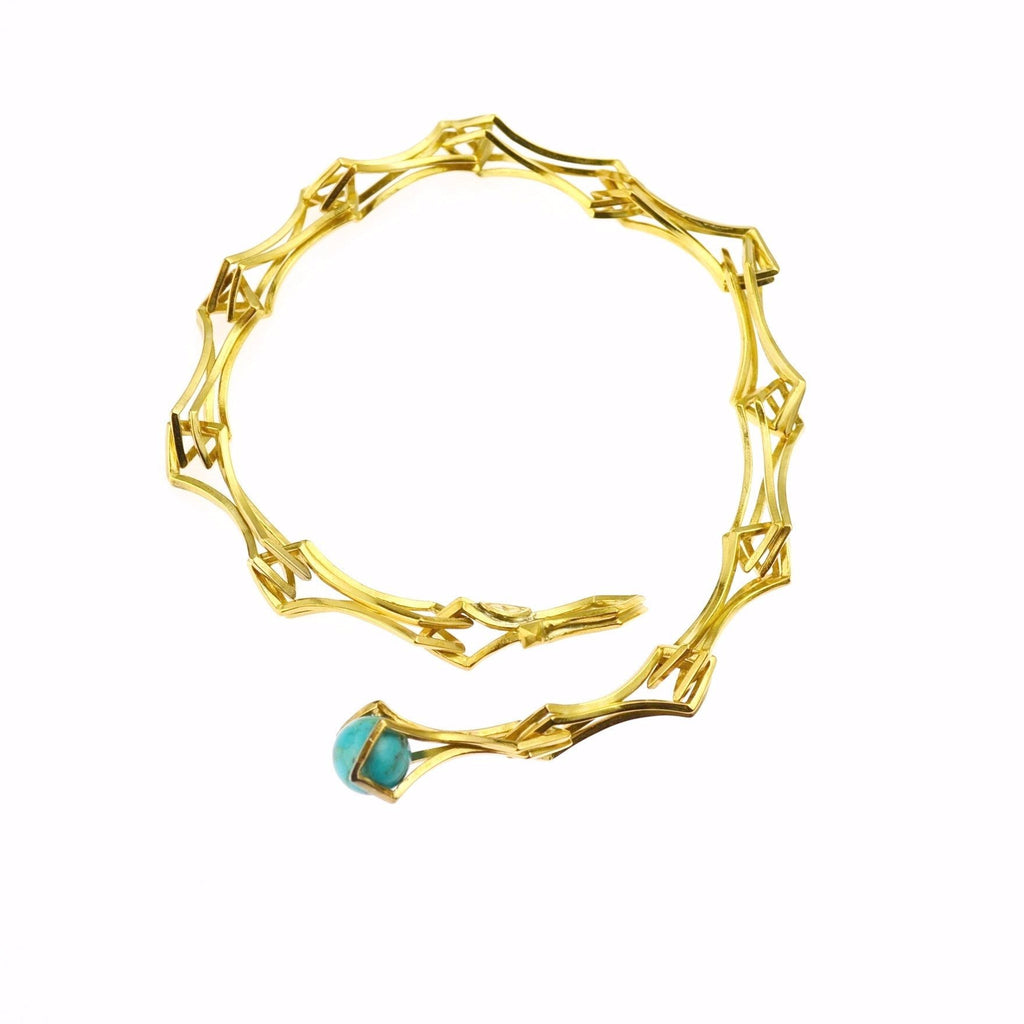 Double Diamond Link Bracelet in 24k Gold on Sterling Silver and Turquoise