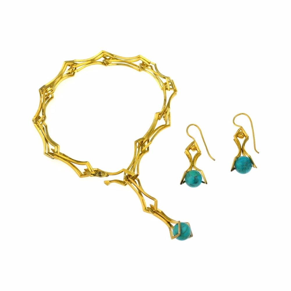 Double Diamond Drop Earrings with Turquoise in 24k Gold on Sterling Silver