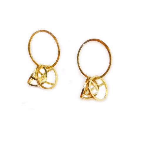 18k Gold Orbit Hoop Earrings