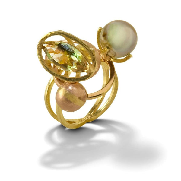 Sunstone Orbit Ring in 18k Gold with Oregon Sunstone Marquise and Pistachio Tahitian Pearl