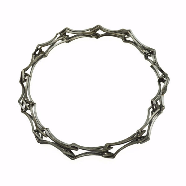 Double Diamond Link Bracelet in dark finish