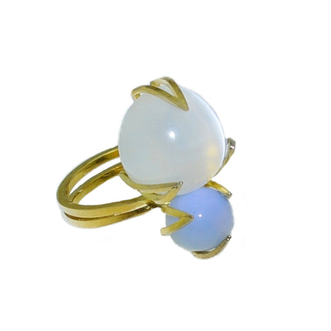 Moon Over Ocean Ring in 18k gold Moonstone and Blue Opal
