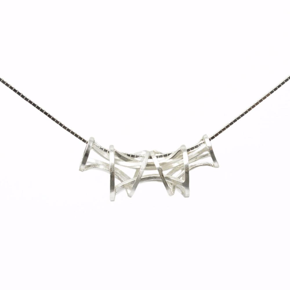 Flexible Vertebrae Link Pendant in Sterling Silver on 18inch chain