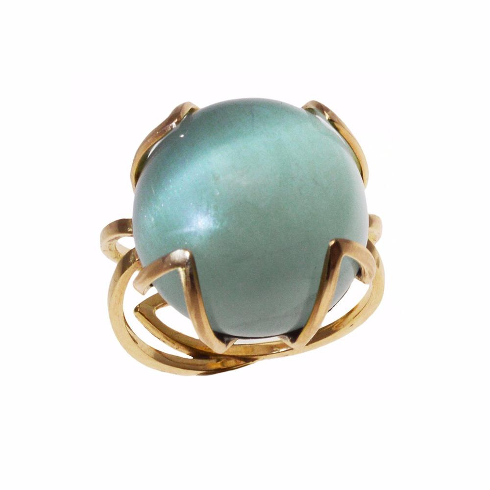 Golden Architectural Elegance with shimmering Cats Eye Aquamarine
