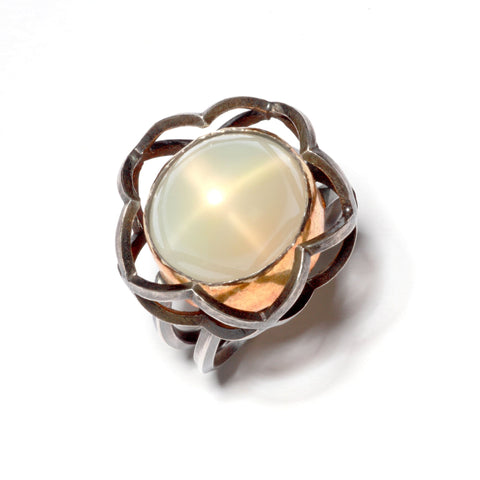 Pentafoil Ring in Sterling Silver and 22K Gold, Moonstone with a Star