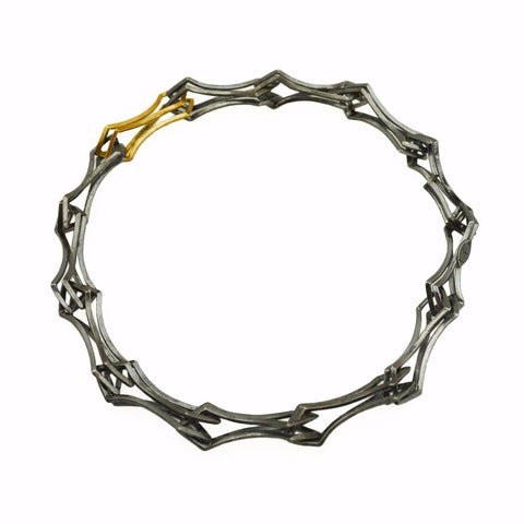 Metropolis Double Diamond Link Bracelet in 18k Gold and Sterling Silver