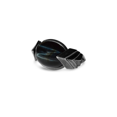 Metropolis Bolt Ring in Sterling Silver with Rare Blue Hawks Eye Cabochon in dark silver finish