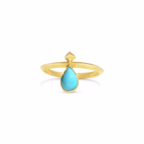 Pyramid Reign Ring in 14k gold and Turquoise