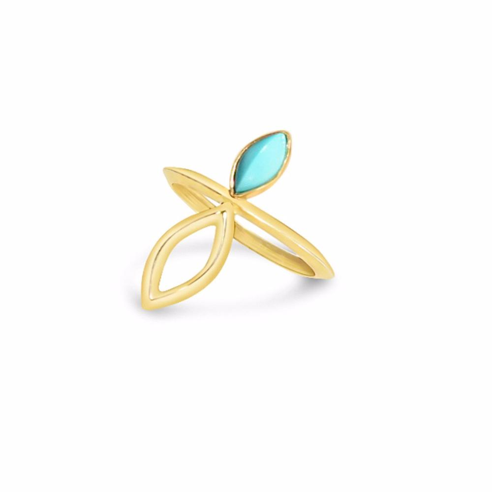 Golden Navette Ring in Turquoise and 14k gold