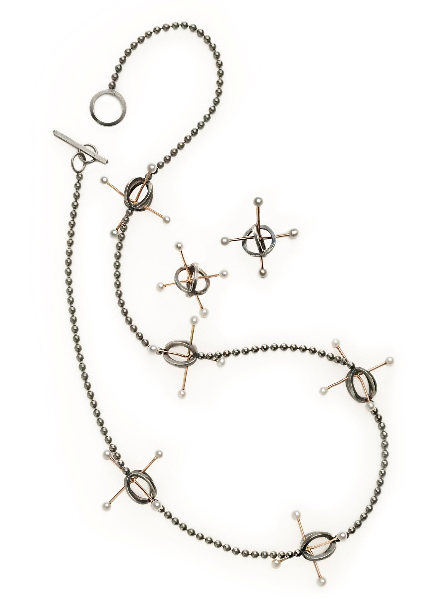 Quark Necklace in Sterling Silver, 14k Gold, Pearls