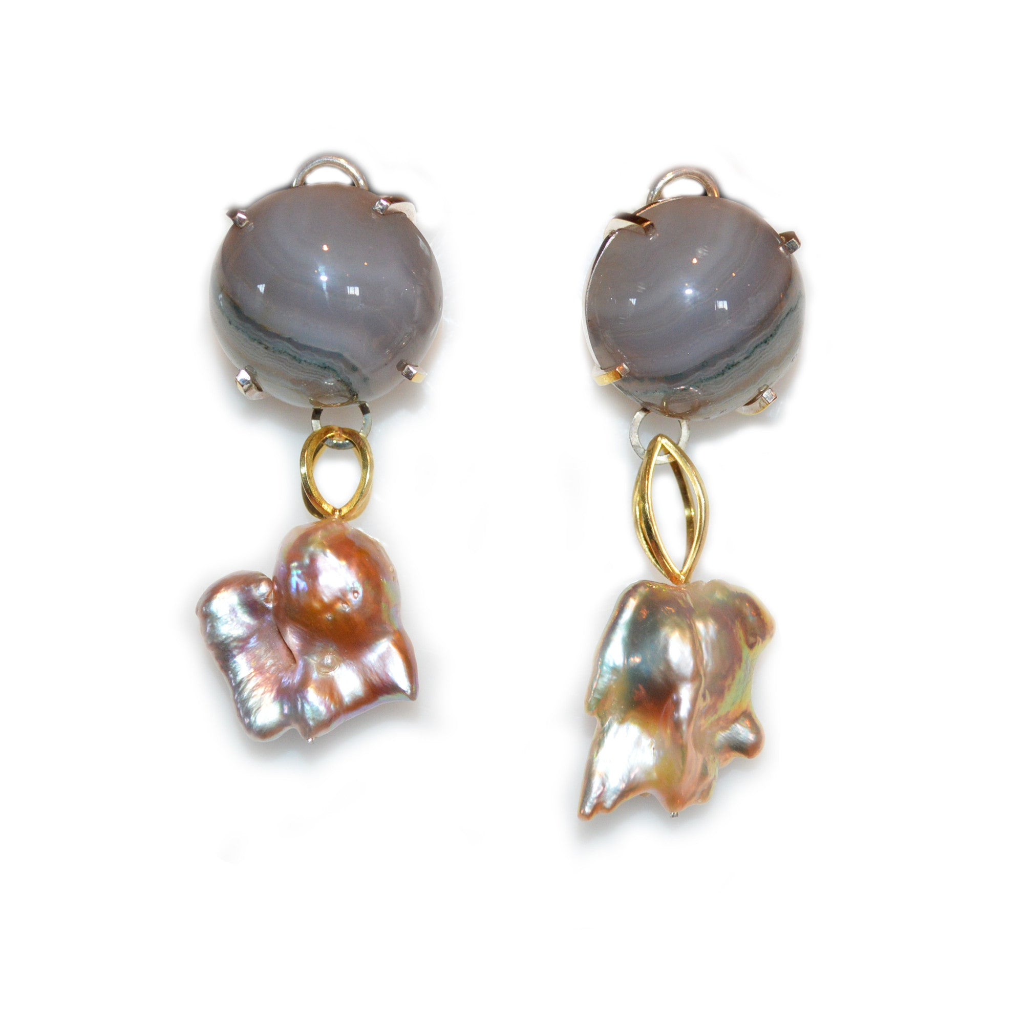 Phoenix Pearl and Agate Earrings