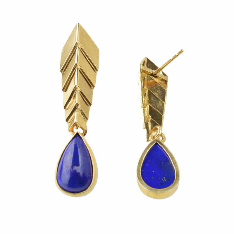 Sar - e - Sang Lapis Comet Earrings 24k Gold on Sterling Silver