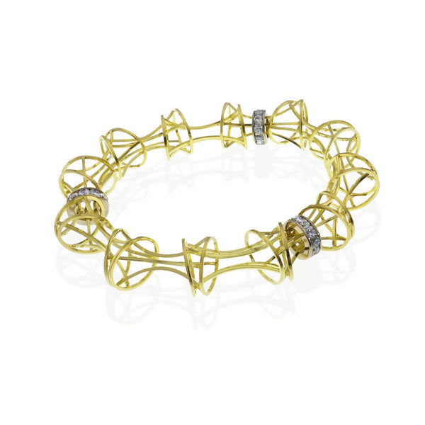 Verve Bangle Bracelet in 18k Gold and Montana Sapphire