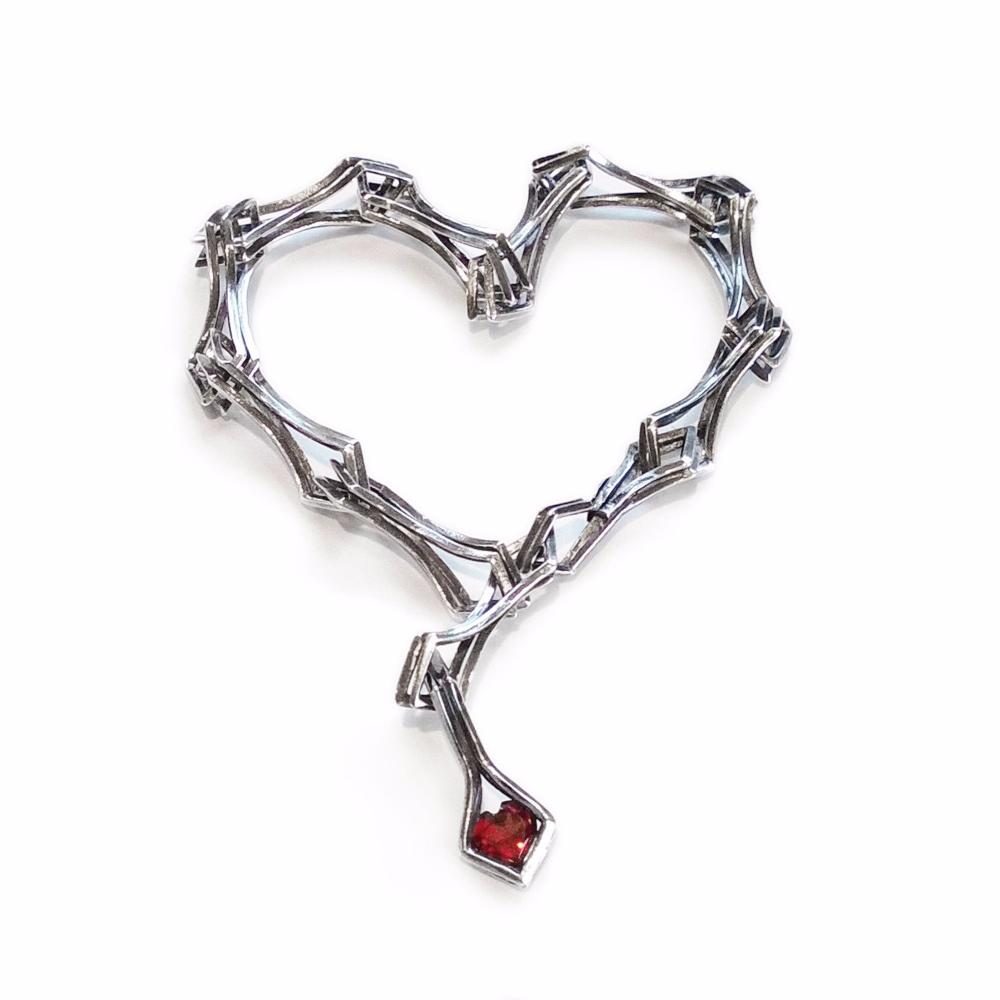 Garnet Heart is Perfect Finish for the Double Diamond Link Bracelet in Sterling Silver
