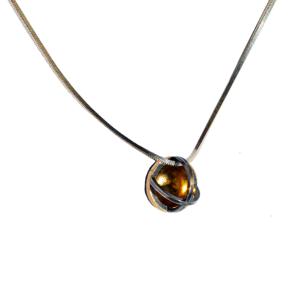 22k Gold and Sterling Orb Pendant