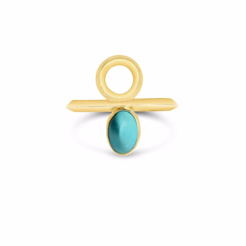 Golden Sun Ring in 14k gold and Turquoise