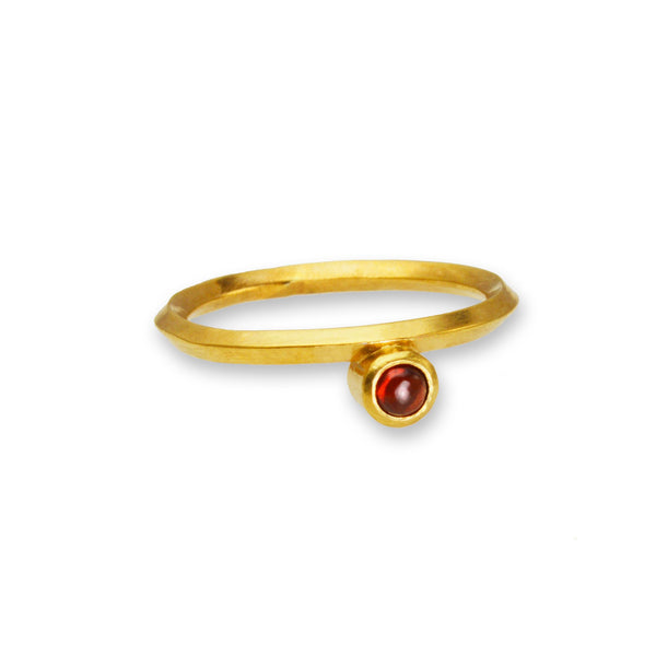 Metropolis Stacking Ring with Garnet in 14k gold