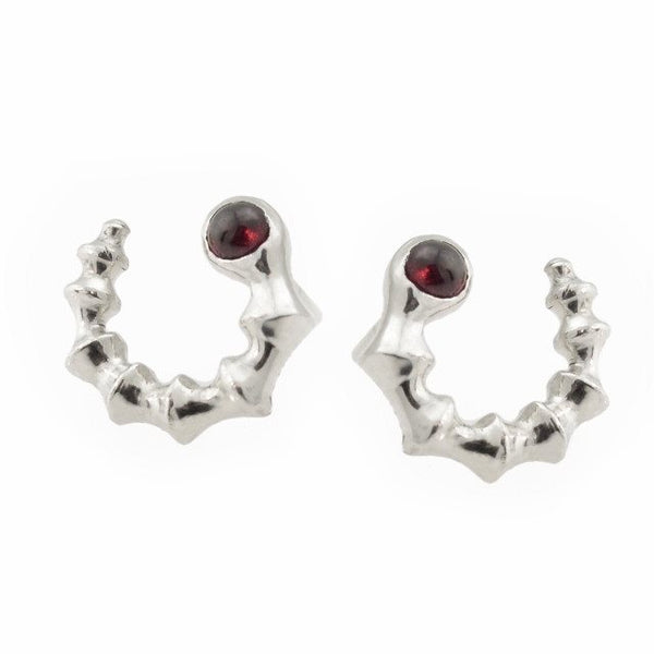 Ibex Stud Earring in Sterling Silver and Garnet