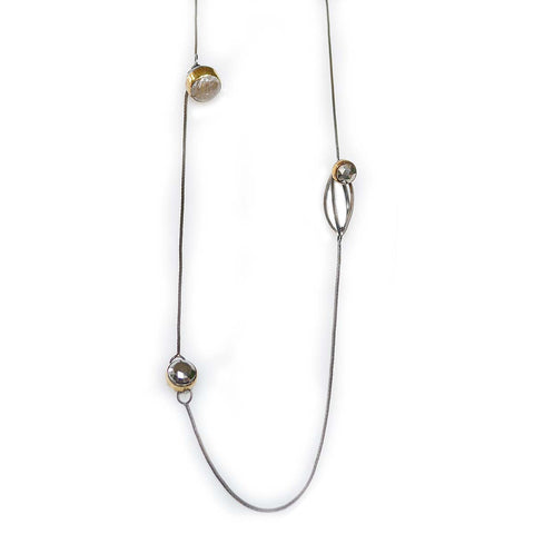 Station Necklace in Sterling Silver, 22k Gold and Black Patina for Contrast