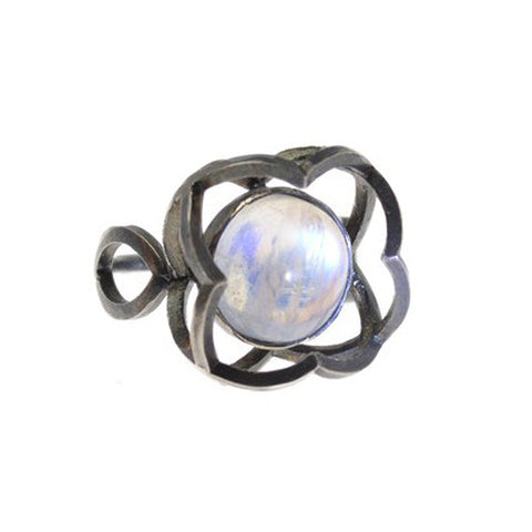 Quatrefoil Ring with Rainbow Moonstone That Appears to Float in the Setting