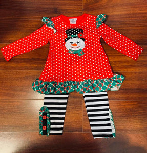 Snowman Applique Ruffle Set