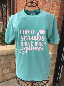 Coffee, Scrubs, Rubber Gloves