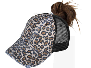 Leopard Pony Tail Trucker Hat
