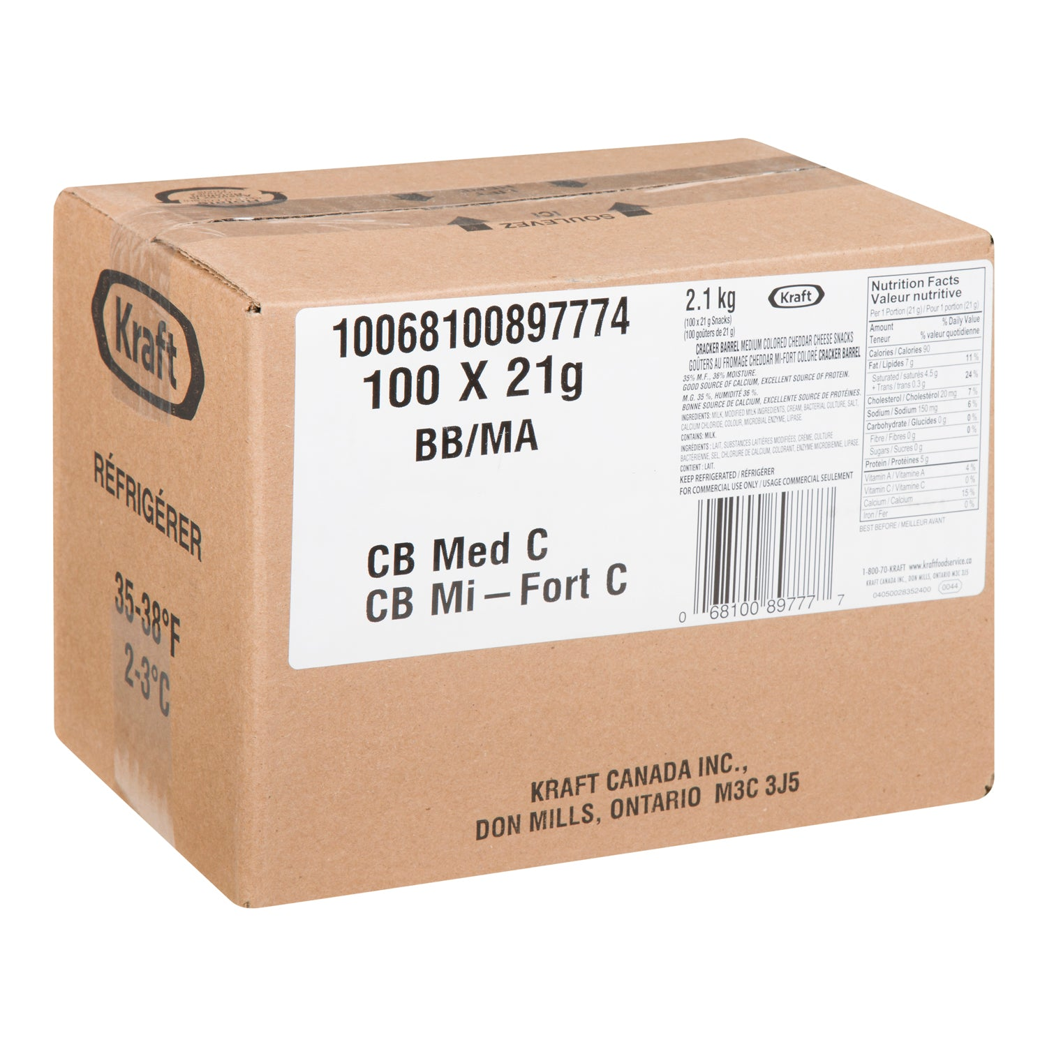Kraft Medium Cheddar Cheese Packs 21 g - 100 Pack [$0.49/each]