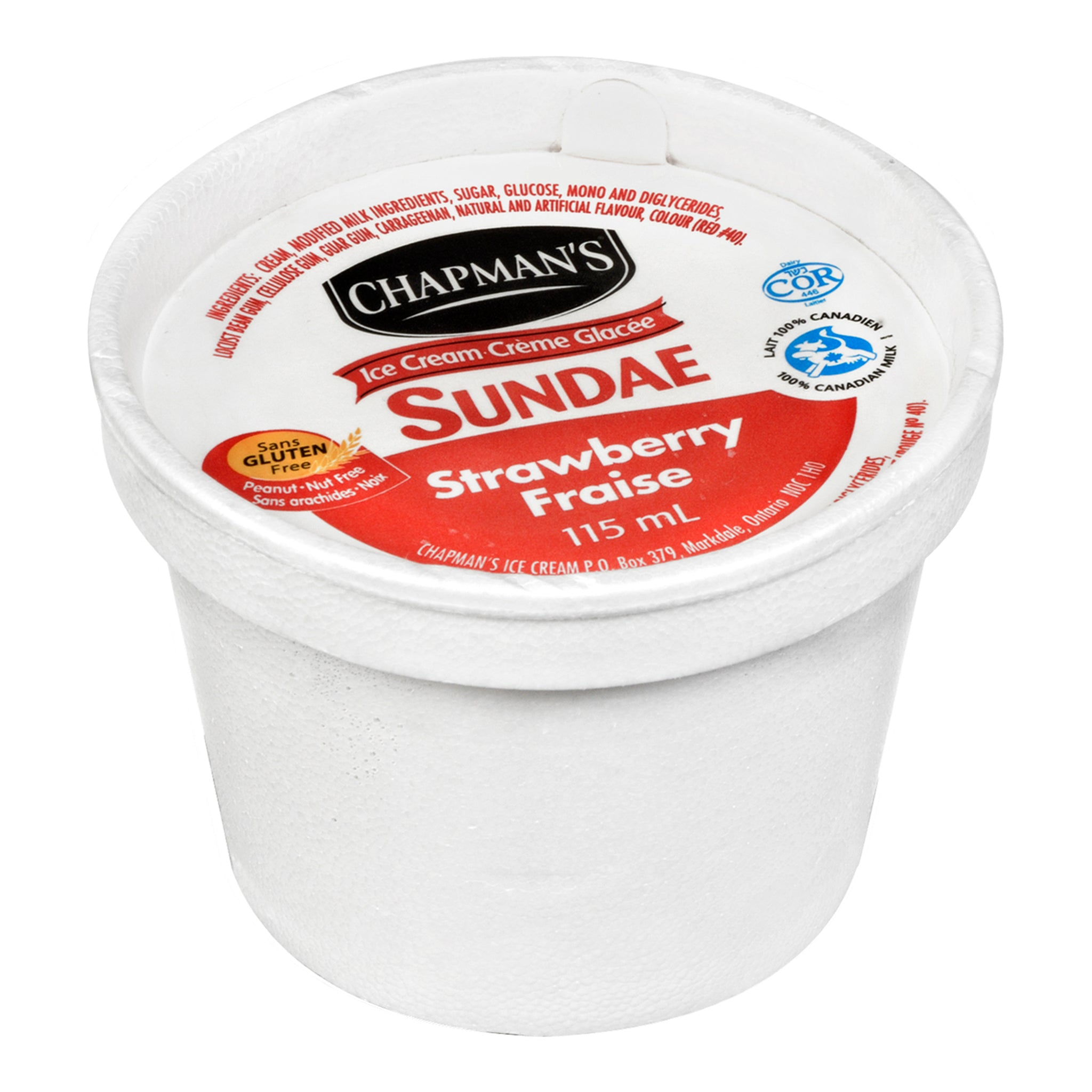Chapman's Frozen Strawberry Ice Cream Cups 115 ml - 24 Pack [$0.58/each]