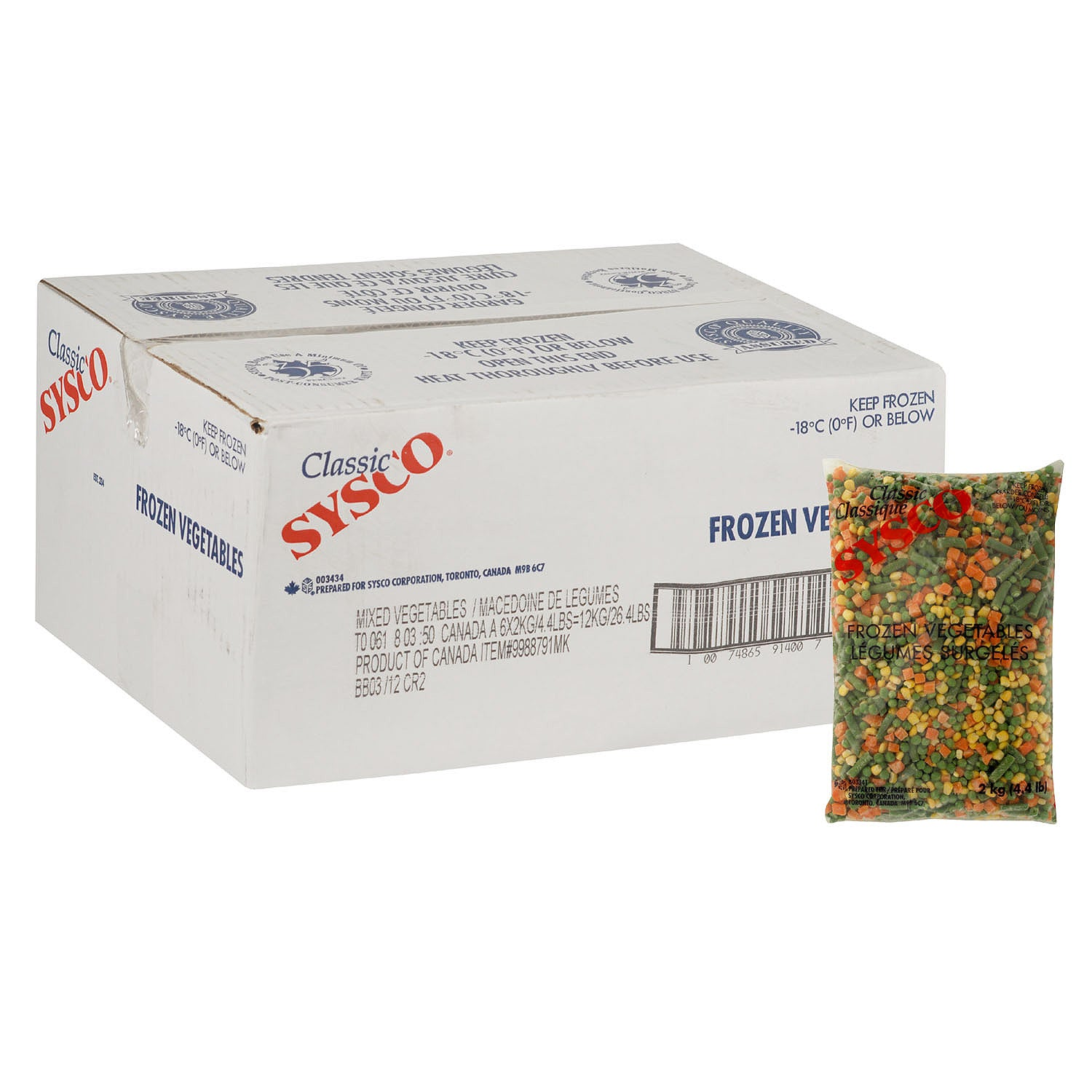 Sysco Classic Frozen Vegetable Mix 4 Way (Carrots/Corn/Peas/Green & Wax Beans) 2 kg - 6 Pack [$3.33/kg]