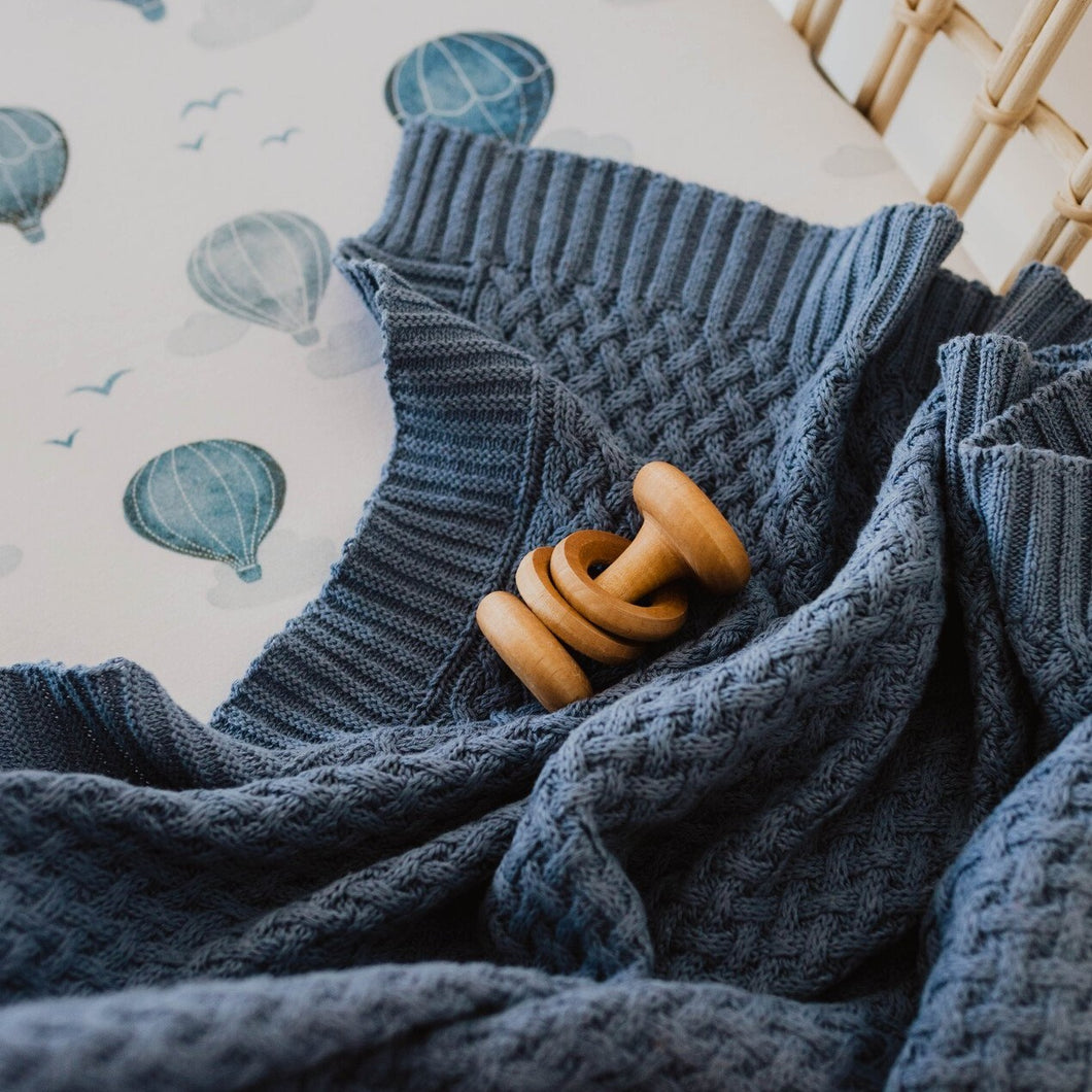 Snuggle Hunny | Diamond Knit Baby Blanket - River